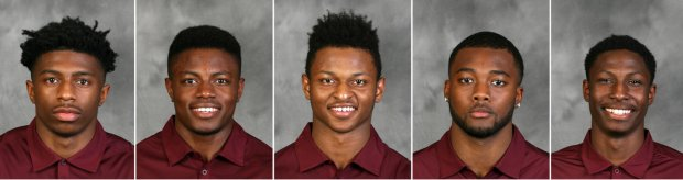Recommended for expulsion from the university are, from left, defensive back Ray Buford, running back Carlton Djam, defensive backs KiAnte Hardin and Dior Johnson, and defensive lineman Tamarion Johnson. (UMN photos)