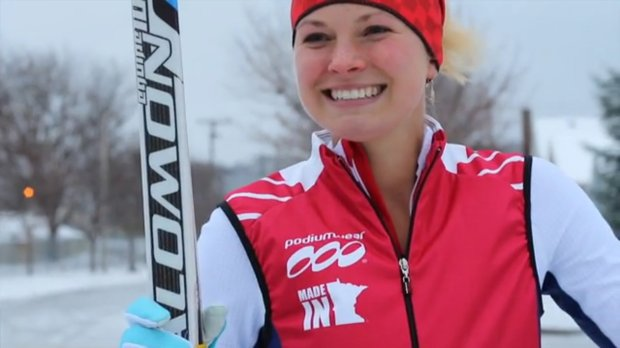 Elite cross country skier Jessie Diggins models a Podiumwear jacket made in St. Paul. (Courtesy of Podiumwear)