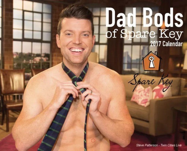 KSTP Twin Cities Live's Steve Patterson is on the front cover of the 2017 Dad Bods of Spare Key Calendar and will serve as Master of Ceremonies for Spare Key's Groove Gala on Feb. 25, 2017, at The Depot in Minneapolis. (Photo courtesy Spare Key / Alyssa Boldischar Photography)