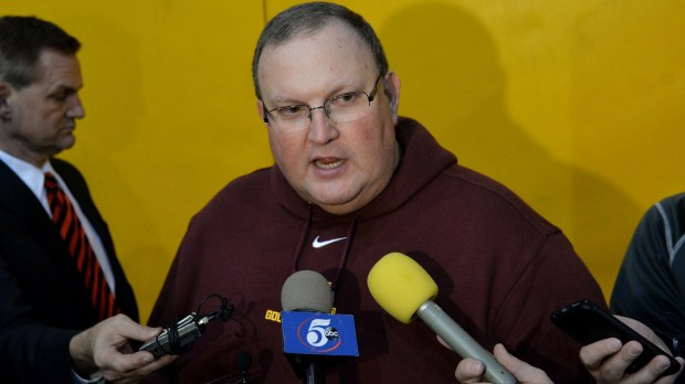 Minnesota Gophers football head coach Tracy Claeys gives a press conference at the Gibson-Nagurski football complex on Wednesday, Dec. 21, 2016. (Pioneer Press: John Autey)
