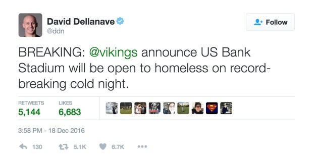 David Dellanave on Twitter BREAKING vikings announce US Bank Stadium will be open to homeless on record breaking cold night.