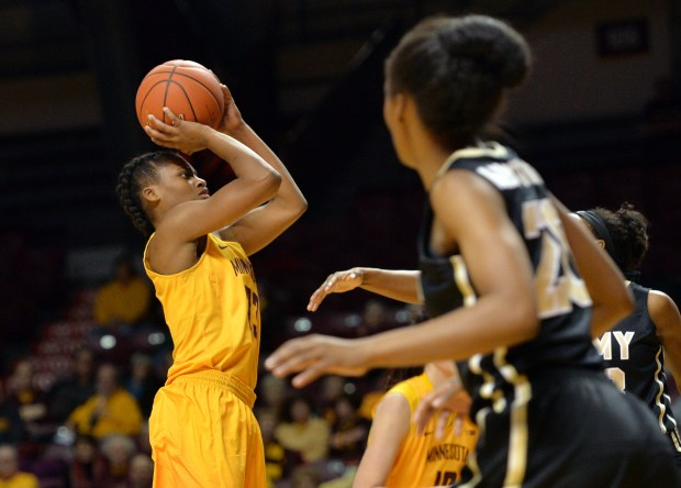 Minnesota Golden Gophers guard Kenisha Bell shoots the ball against the Army Black Knights in the second quarter at Williams Arena on Thursday, Dec. 8, 2016. (Pioneer Press: John Autey)