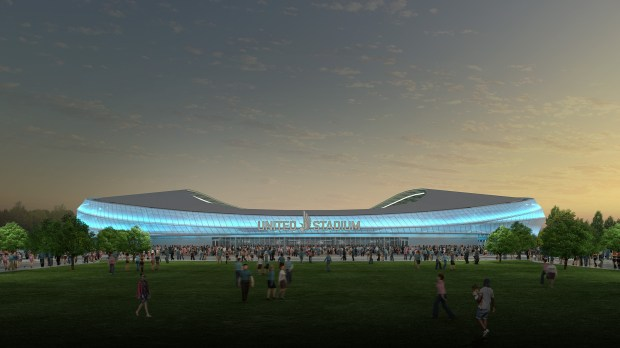 Undated rendering, circa Dec. 2016, of the exterior of Minnesota United FC soccer stadium, to be built in St. Paul. (Courtesy of Minnesota United)