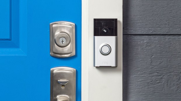 The Ring Video Doorbell incorporates a camera, along with a speaker and microphone, and is connected to the Internet. (Ring)