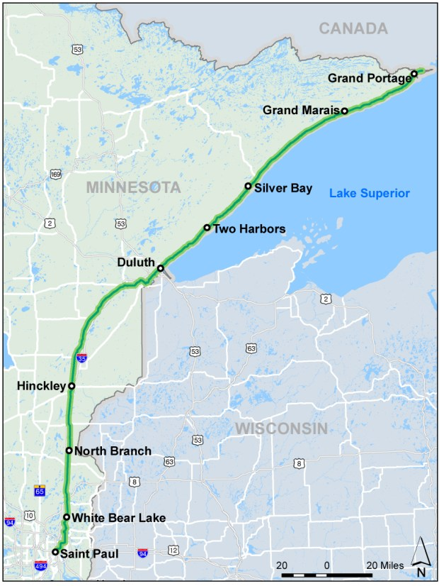 U.S. Bicycle Route 41, also known as the North Star Bicycle Route, is the designation for a route involving existing roads and mixed-use paths and trails designated by the Minnesota Department of Transportation as part of the U.S. Bicycle Route System. (Image courtesy MnDOT)