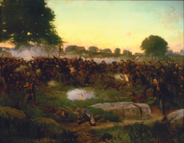 """""""Battle of Gettysburg"""" oil painting by Rufus Fairchild Zogbaum, this painting hangs in the Governor's Reception Room at the Minnesota State Capitol. (Courtesy Minnesota Historical Society)"""