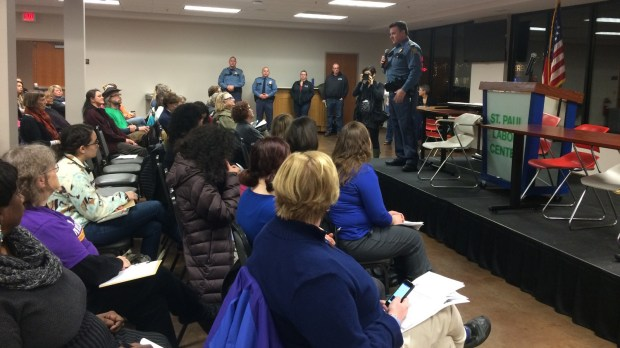 St. Paul Police Senior Cmdr. Steve Frazer addresses a group of people on Wednesday, Jan. 18, 2017, who are training to be community marshals at the Women's March Minnesota, set for Saturday at the Minnesota Captiol. (Pioneer Press: Mara H. Gottfried)