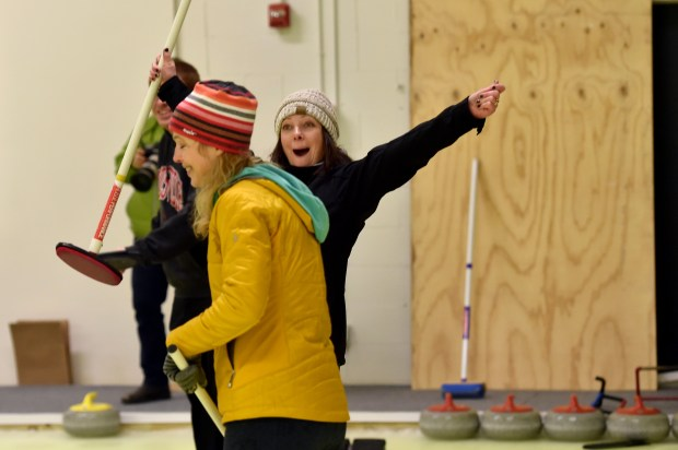 Jennifer Born celebrates a point for her team at Dakota Curling in Lakeville on Tuesday, Jan. 24, 2017. (Pioneer Press: John Autey)