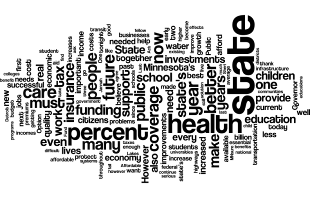 Word Cloud of Gov. Mark Dayton's 2017 State of the State