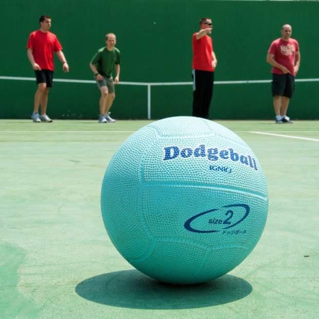 A ball typically used in a dodgeball match (Wikimedia Commons)