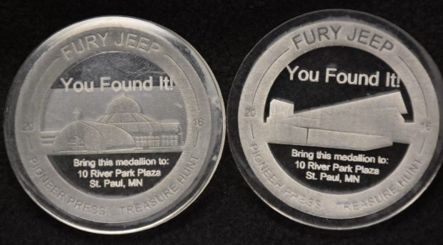 Two of the three Pioneer Press Treasure Hunt medallions struck in October of 2015 and bearing the year 2016 are pictured. The medallion on the left, featuring the Marjorie McNeely Nature Conservatory, was used in the 2017 hunt. At right is an unused medallion featuring CHS Field, where the St. Paul Saints play. Pioneer Press: Dave Orrick
