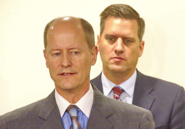 Senate Majority Leader Paul Gazelka, R-Nisswa, backed by House Speaker Kurt Daudt, R-Crown, discuss Republicans' proposals to help people afford health insurance during a news conference in St. Paul on Thursday, Jan. 5, 2017. (Forum News Service photo by Don Davis)