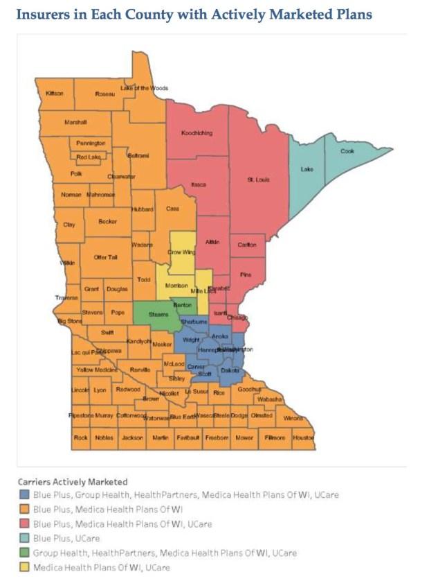 Insurance plans on Minnesota's 2017 individual market. (Source: Minnesota Department of Commerce.)