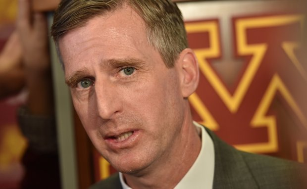 University of Minnesota Athletics Director Mark Coyle answers questions during a news conference to introduce P.J. Fleck as the new Gophers head football coach at the Indoor Club Room at TCF Bank Stadium at the University of Minnesota on Friday, Jan 6, 2017. (Pioneer Press: John Autey)