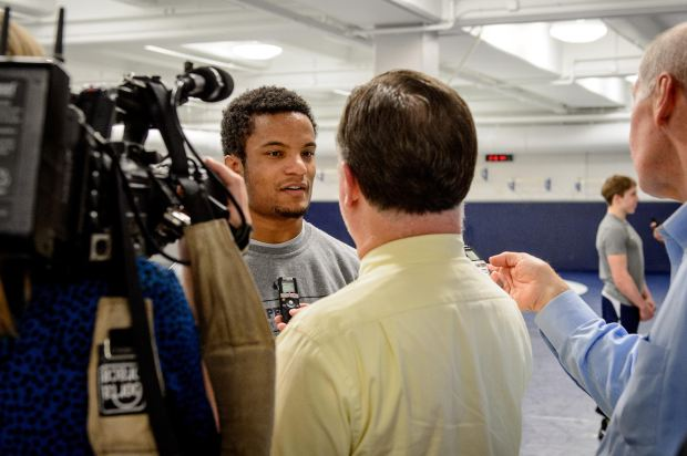 Penn State Nittany Lion freshman wrestler Mark Hall talks with members of the media during the team's annual media day in State College, Pa. on Wednesday Nov. 2, 2016. Photo courtesy of Penn State Athletics: Mark Selders.