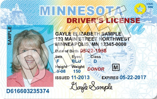 June 2016 mock-up of what a Real ID Minnesota driver's license could look like. The actual Real ID license would be developed once the state approves a plan. The 2016 Legislature did not agree on a plan. Photo courtesy of Minnesota Department of Public Safety.