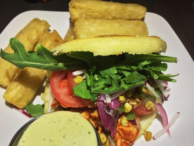 Chipotle Chicken Arepa at Hola Arepa. (Pioneer Press: Nancy Ngo)