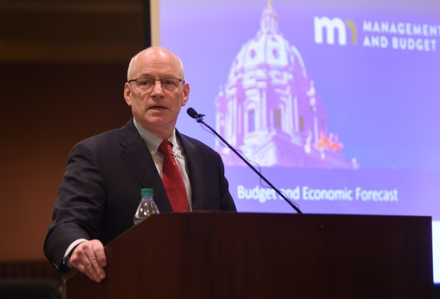 Minnesota Management and Budget Commissioner Myron Frans discusses the state of Minnesota Budget and Economic Forecast on Tuesday, Feb. 28, 2017, at the State Capitol in St. Paul. (Pioneer Press: Scott Takushi)