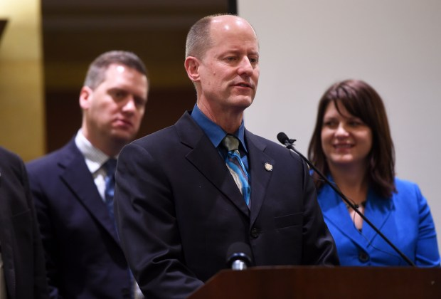 From left: Minnesota Republican leaders Kurt Daudt, speaker of the House; Paul Gazelka, Senate majority leader; and Joyce Peppin, House majority leader; discuss the February Budget and Economic Forecast at the State Capitol in St. Paul on Tuesday, Feb. 28, 2017. (Pioneer Press: Scott Takushi)