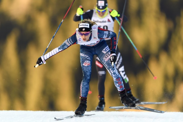 Jessica Diggins of the US competes in the Women's 15km individual free race at the FIS Cross Country World Cup Nordic skiing event on December 10, 2016 in Davos. / AFP / FABRICE COFFRINI (Photo credit should read FABRICE COFFRINI/AFP/Getty Images)