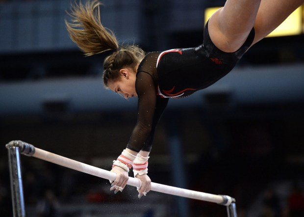 Anna Altermatt during her performance on the uneven parallel bars during the Class AA State Girls' Gymnastics Meet at the University of Minnesota's Sports Pavilion on Friday, Feb. 24, 2017. (Special to the Pioneer Press: Liam James Doyle)