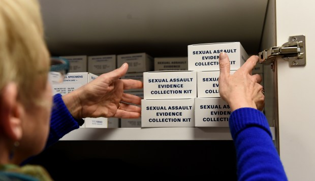 Linda Walther, an RN sexual assault nurse examiner, shows the boxes of sexual assault evidence collection kits stored at Regions Hospital on Wednesday, Feb. 15, 2017. (Pioneer Press: Jean Pieri)