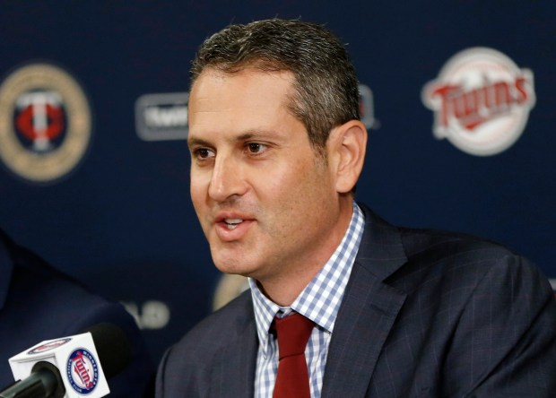 FILE - In this Nov. 7, 2016, file photo, Minnesota Twins new general manager Thad Levine addresses the media in Minneapolis. (AP Photo/Jim Mone, File)