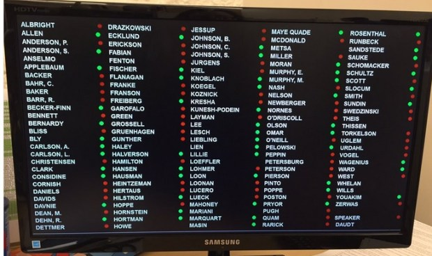 An image of the vote on whether to require Minnesota House members to disclose their junket sponsors, Feb. 16, 2017.