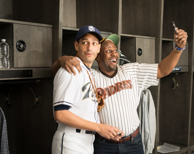 "Christopher Rivas (from left) and Ansa Akyea will take theatergoers into the St. Paul Saints locker room in ""Safe at Home."" (Rich Ryan)"