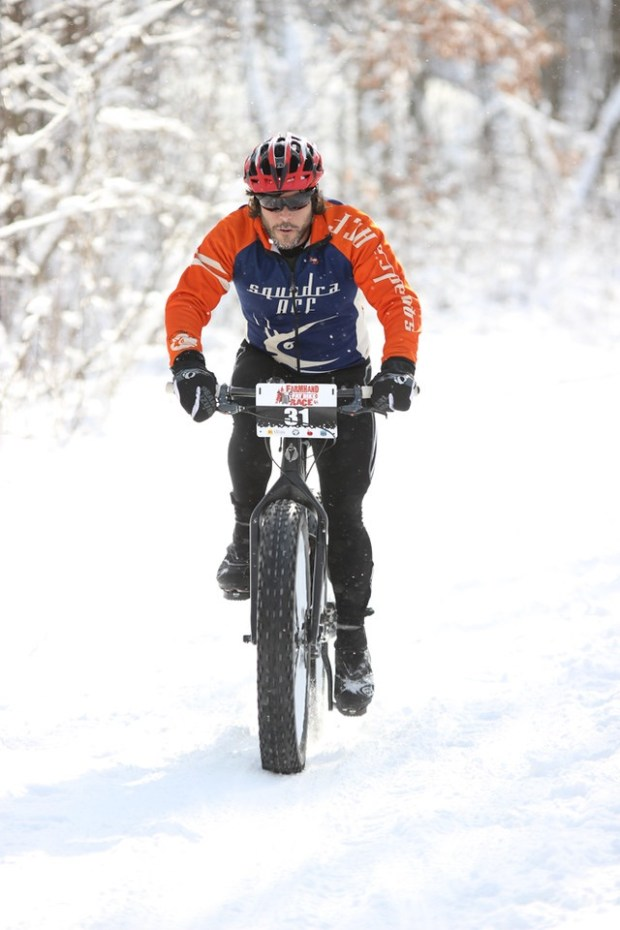 Scott Spoo, an avid bicyclist and runner. participates in The Brewery Vivant Farmhand Fat Bike Race in Michigan in 2015. Spoo was struck and killed by a vehicle while running in St. Paul on Feb. 22, 2017. Photo courtesy of Robert Meendering Photography.