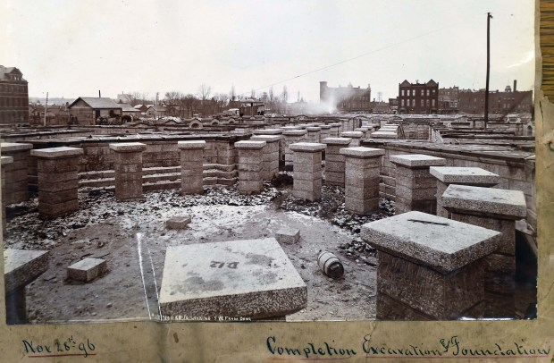 """A photo titled: """"Completion Excavation and Foundation,"""" dated Nov. 28, 1896, shows the pillars in the basement which support the dome and rotunda."""
