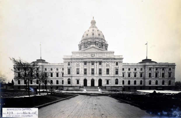 The Capitol photographed on Nov. 6, 1905. Likely commissioned by the state board that oversaw the Capitol's construction, the photos were shot in batches at one-month intervals at the building site to document its progress, says Brian Pease, Capitol site manager for the Historical Society. One copy of each image remained in St. Paul, while another was mailed to Capitol architect Cass Gilbert's office in New York City. While Gilbert's photos are still in the collection of the New-York Historical Society, they are not available online.