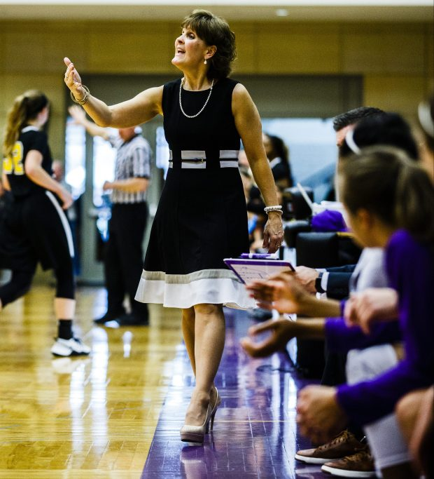 University of St. Thomas head women's basketball coach Ruth Sinn shouts instructions during the MIAC Championship game versus Gustavus Adolphus College on Feb. 26, 2017, in Schoenecker Arena. The Tommies beat the Knights 66-49. (Mike Ekern / University of St. Thomas)