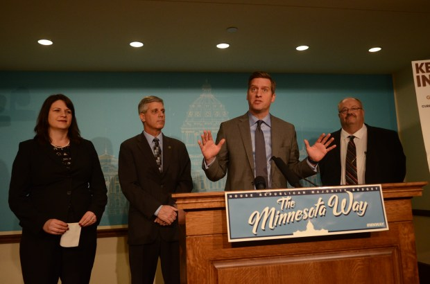Minnesota House Speaker Kurt Daudt and other Republican leaders discuss their $1.35 billion tax cut proposal March 22 at the Capitol. (Christopher Magan/ Pioneer Press)