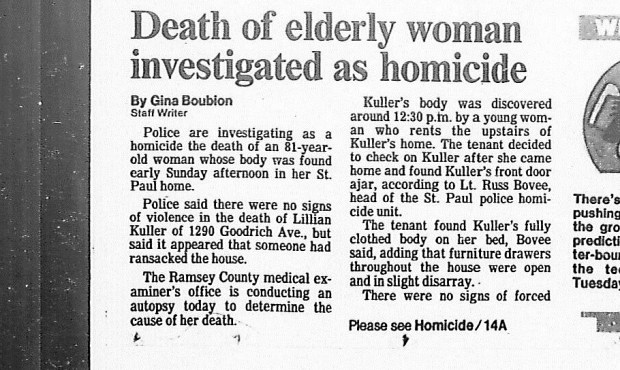 The St, Paul Pioneer Press Dispatch featured a story in its Feb. 2, 1987 edition on the death of 81-year-old Lillian Kuller of St. Paul.
