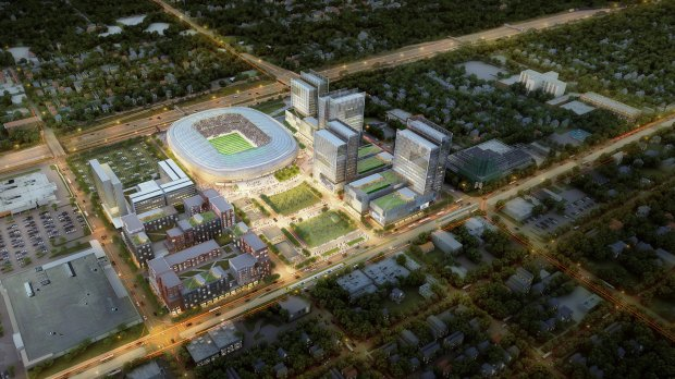 The future home of the Minnesota United professional soccer team and potential surrounding development are shown in a May 2016 conceptual study sandwiched between Interstate 94 at top and University Avenue at bottom. Snelling Avenue and the existing Spruce Tree Centre are seen at right. (Courtesy of RK Midway,, Minnesota United, S9Architecture and Populous)