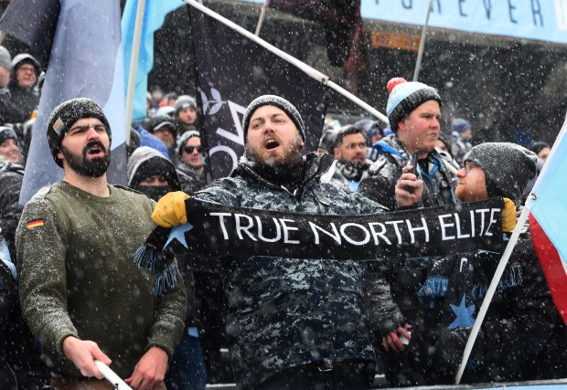 True North Elite fans David Baker, left, and Mitchel Tonak, center, get rowdy before the start of the game as the Minnesota United Loons played Atlanta United during the home opener of the Loons' Major League Soccer inaugural season at TCF Bank Stadium in Minneapolis, Sunday, March 12, 2017. Scott Takushi / Pioneer Press