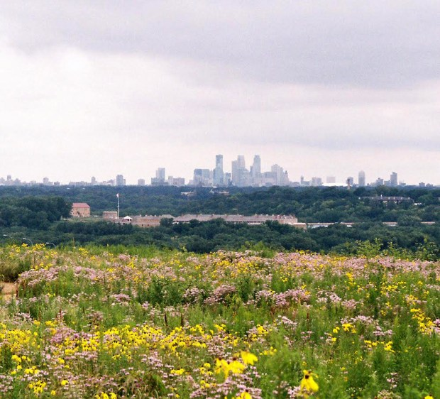 Pilot Knob in Mendota Heights was added to the National Register of Historic Places on March 14. This picture, showing Fort Snelling in the foreground and the downtown Minneapolis skyline, was taken in 2010 (Courtesy of Bruce White).