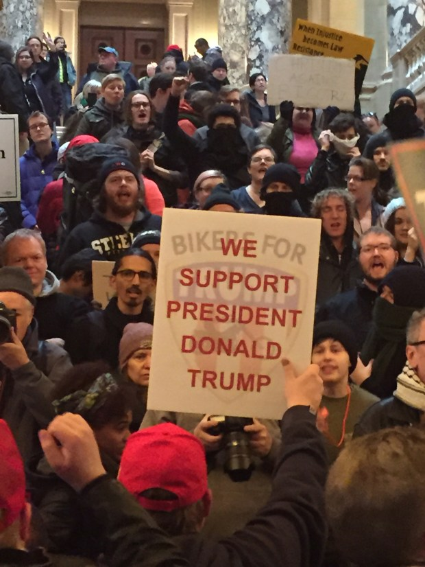 """Fans of President Donald Trump confront protesters at the """"March 4 Trump"""" rally at the Minnesota State Capitol on Saturday, March 4, 2017 (Will Ashenmacher/Pioneer Press)"""