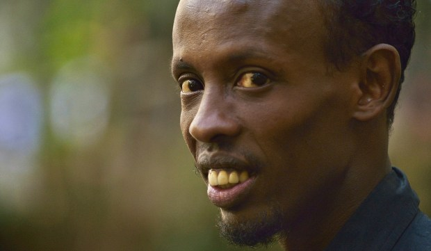 "This picture taken on February 3, 2015 shows Oscar-nominated Somalia-born actor, Barkhad Abdi, during an interview in Nairobi. As a gun-toting Somali pirate, Abdi was terrifying in his role in ""Captain Philips"" with the chilling line to Tom Hanks: ""I am the captain now."" They liked it in Somalia too says Abdi who had only just returned to his birth nation for the first time in over two decades where he was mobbed by fans. AFP PHOTO / TONY KARUMBA (Photo credit should read TONY KARUMBA/AFP/Getty Images)"