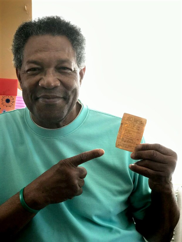 Former Minnesota Vikings running back Clinton Jones show his Selective Service draft card in an April 2017 photo. Jones, who played college football at Michigan State, was not drafted by the military. The Vikings took Clint Jones with the No. 2 pick in the NFL draft on March 14-15, 1967. (Courtesy of Clinton Jones)