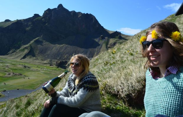 Picnic on a hillside on Vestmannaeyjar, a tiny island off the southern coast of Iceland in May 2016. (Andy Greder/Pioneer Press)