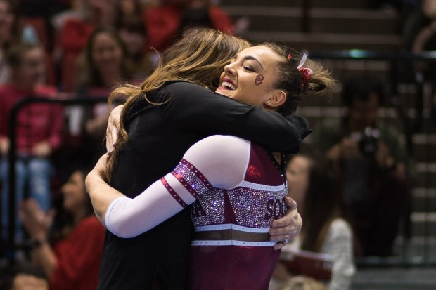 Undated courtesy photo from the 2016-17 season of University of Oklahoma gymnast Maggie Nichols, right. Nichols, of Roseville, will be competing in the NCAA Championships April 14-15 in St. Louis, Mo. Courtesy of Madison Mooring / Oklahoma Athletics Communications.