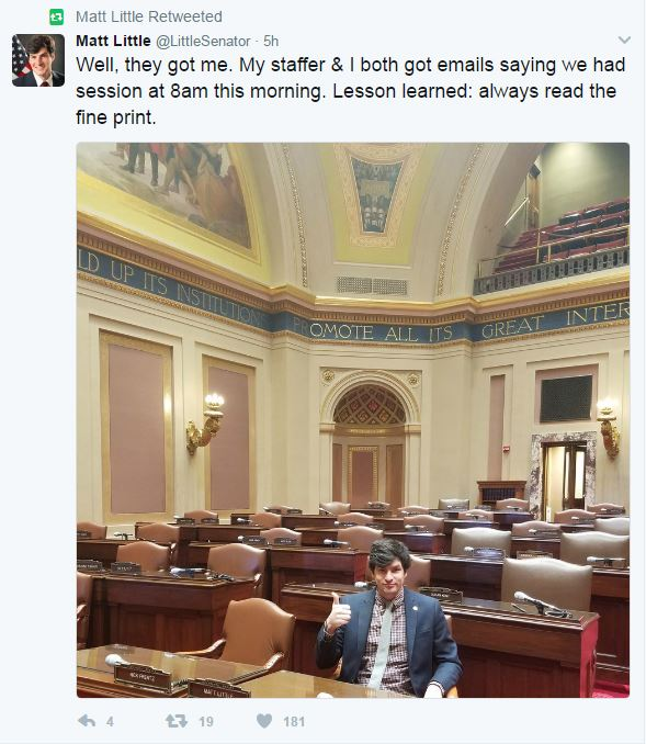 State Sen. Matt Little, DFL-Lakeville, purportedly fell for an April Fool's Day prank when he showed up for a session at 8 a.m. on Saturday, April 1, 2017.
