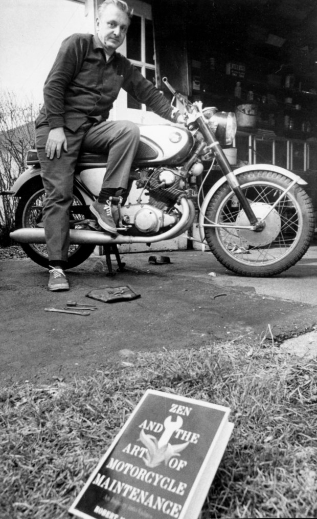"April 17, 1974 black and white photograph of Robert Pirsig, author of the book ""Zen and the Art of Motorcycle Maintenance"". Pirsig wrote the book after the 1968 cross-country motorcycle trip he and his 11-year-old son, Chris, made from St. Paul to San Francisco. (Pioneer Press File Photo: Craig Borck)"