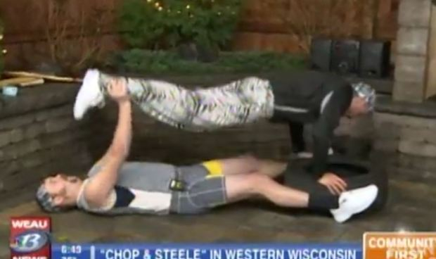"""A screen grab of the performance by """"Chop & Steele"""" on WEAU-TV in November, 2016."""