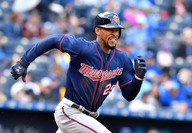 Minnesota Twins' Byron Buxton runs out a bunt single in the fourth inning against the Kansas City Royals on Sunday, April 30, 2017, in Kansas City, Mo. (John Sleezer/Kansas City Star/TNS)