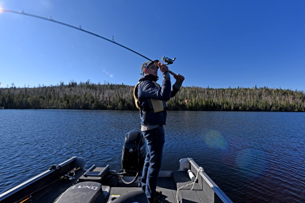 Steve Safranski of Chanhassen, Minn., cast for northern pike in northern Minnesota Saturday, May 13, 2017, opening day of fishing for pike and most other game fish. (Dave Orrick / Pioneer Press)