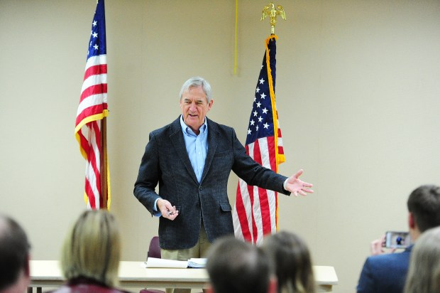 U.S. Rep. Rick Nolan, D-Minn., talked Thursday to a town hall-style meeting at the Brainerd Public Library. Nolan discussed the GOP's Affordable Care Act repeal efforts, the recent firing of FBI Director James Comey, and Russian influence in the 2016 election for the crowd that gathered. (Steve Kohls/ Forum News Service)