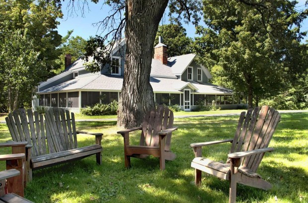 The clubhouse at Big Rock Creek Farm, which is about three miles north of St. Croix Falls, Wis. The 925-acre property, which has been owned by one family for more than 100 years, is now for sale for $2.7 million. (Courtesy of Coldwell Banker Burnet)